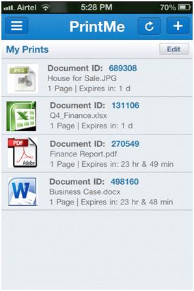 Fonctionnement de l'application PrintMe Cloud