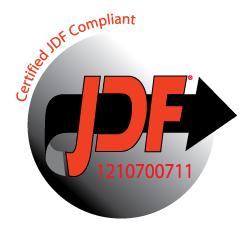 Logo de certification JDF pour l'intégration Fiery