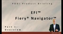 Anteprima del briefing informativo sul prodotto di PODi di Fiery Navigator